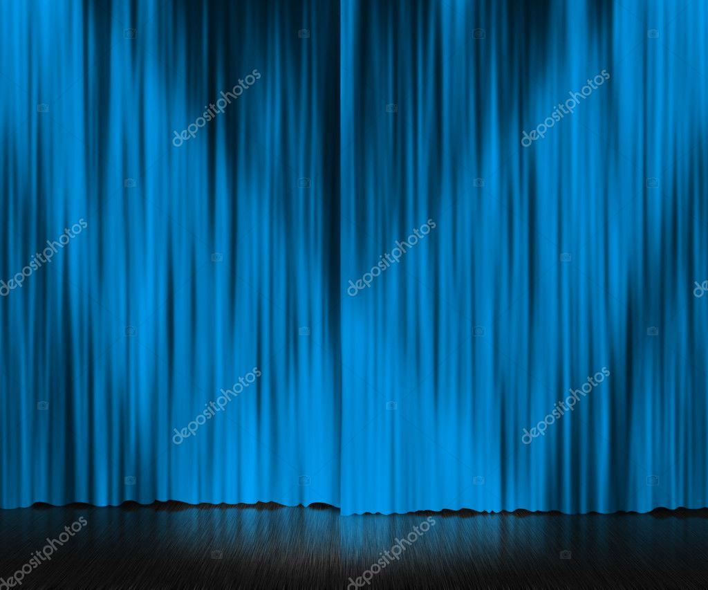 Cortina azul de fondo de escenario foto de stock - Cortinas para escenarios ...