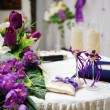 Stock Photo: Wedding glasses and flowers