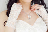 Bride and necklace — Stock Photo