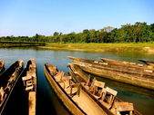 Canoes in Chitwan National Park, Nepal — Stock Photo