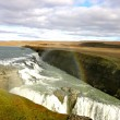 Rainbow over Gullfoss Waterfall - Iceland — Stockfoto