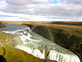 Rainbow over Gullfoss Waterfall - Iceland — Stock Photo