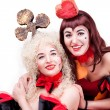 Two queen of hearts and clubs - Stock Photo