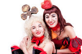 Two queen of hearts and clubs — Stock Photo