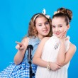 Royalty-Free Stock Photo: Two girls with microphone