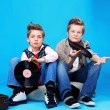 Stock fotografie: Teo boys with vinil records