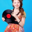 Girl with record — Stock Photo #10641733