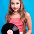 Girl with vinyl record — Stock Photo #10642082