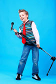 A boy with microphone — Stock Photo