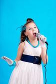 Beatifull girl with microphone — Stock Photo