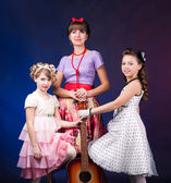 Three lady with guitar — Stock Photo