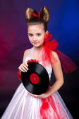 A girl with record — Stock Photo
