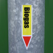Biogas sign on a pipe — Stock Photo