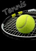 Tennis racket and tennis ball on black background — Stock Photo