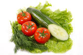 Fresh vegetables and herbs on a white background — Stock Photo