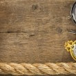 Ship ropes and compass with pen on wood - Stock Photo