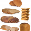 Collage of bread isolated on white - Stock Photo