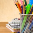 Back to school concept and on wood — Stock Photo