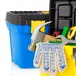 Construction toolbox and tools isolated on white — Stock Photo