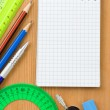 Back to school and supplies on wood — Stock Photo #10683834