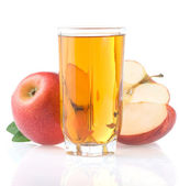 Apple juice in glass and slices isolated on white — Stock Photo