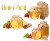 Jar of honey and fruit isolated on white — Stock Photo