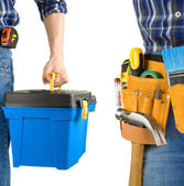 Man and tool box with belt isolated on white — Stock Photo
