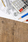 Pencil and drafting on wood — Stock Photo