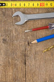 Set of tools on wood — Stock Photo