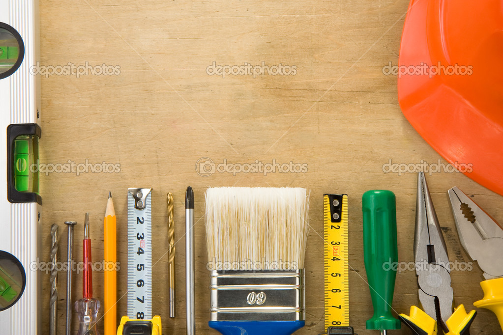 Set of tools and instruments on wood texture background — Stock Photo #10683727