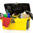 Tools and instruments in plastic box — Stock Photo