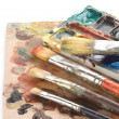 Brush and art palette with paints - Foto de Stock