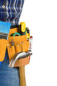 Tools and man with belt on white — Stock Photo