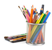 Holder basket with pencils and paint — Stockfoto