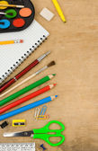 School accessories and checked notebook — Stok fotoğraf