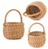 Wicker basket isolated on white — Stock Photo