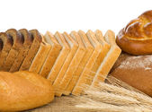 Bakery products and wheat — Stockfoto