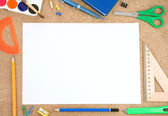 School accessory with blank sheet — Stock Photo