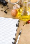 Ricettario quaderno aperto pronto per ricetta — Foto Stock
