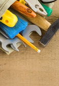 Tools construction and bag — Stock Photo