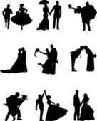 Groom and bride silhouette — Stock Vector