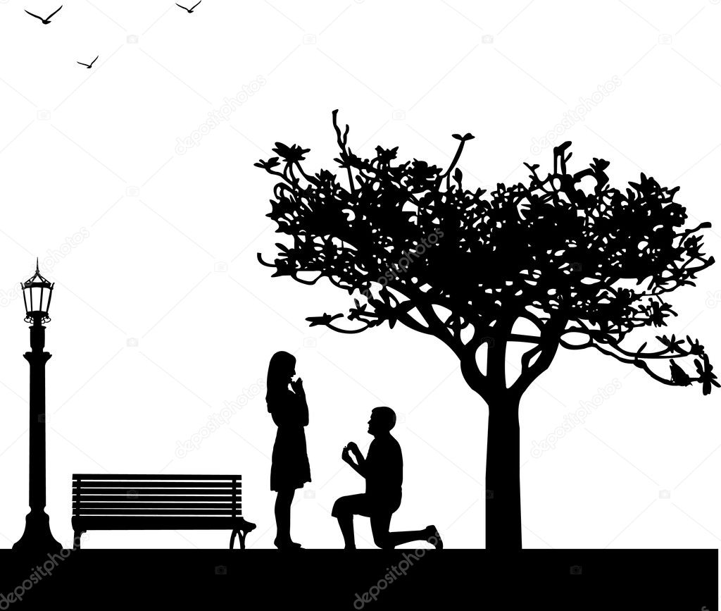 banco de jardim vetor: to a woman while standing on one knee silhouettes —Vector by Tinica