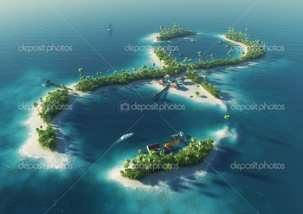 Tropical Island Paradise: Paradise Tropical Island In The Form Of Infinity Sign