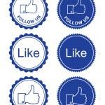 Facebook like / facebook follow us retro style — Stock Vector