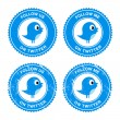 Twitter blue bird follow labels — Stock Vector #10684235