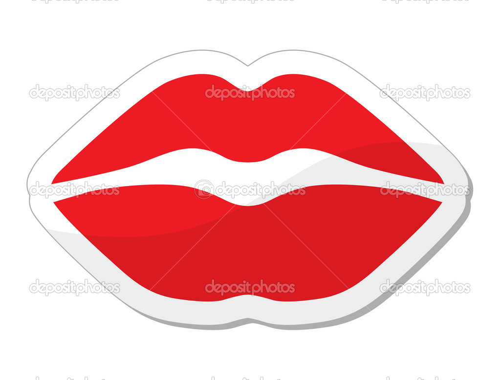 Love, passion concept - red lips shiny label isolated on white background — Vektorgrafik #10684036
