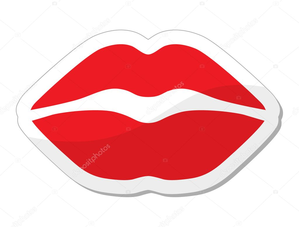 Love, passion concept - red lips shiny label isolated on white background    #10684036