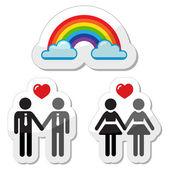 Icônes de couple gay raibnow — Vecteur