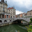 Ljubljana and its river — Stock Photo