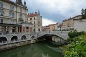 Ljubljana and its river — Stock Photo